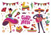 June party festival. Mexican or brazil fiesta elements with cartoon latino people. Vector set of people dancing on fiesta mexican festival illustration poster
