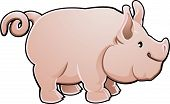 A cute pig farm animal vector illustration poster