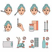 Beauty injection vector line icon. Woman, face, medical syringe. Beauty care concept. Can be used for topics like rejuvenation, aesthetics, cosmetology poster