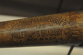May 28, 2016, Babe Ruth Baseball Bat With Notches For Every Home Run On Display At The Louisville Sl