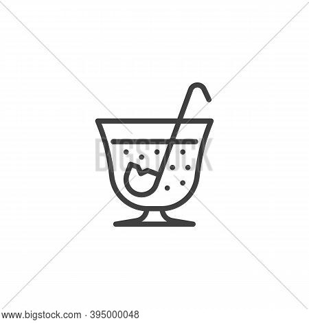 Soup Pan With Ladle Line Icon. Linear Style Sign For Mobile Concept And Web Design. Mulled Wine Pot