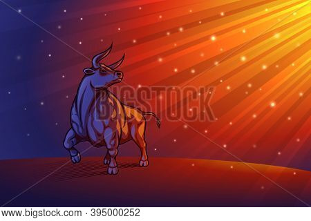Bull On Radiant Beams Background. Shiny Glitter Particles In Rays Divine Light. Ox Is Zodiac Sign Of