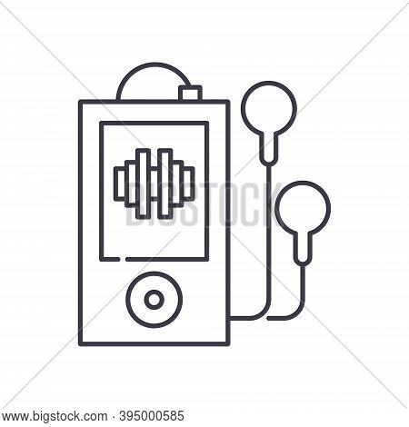 Portable Music Player Concept Icon, Linear Isolated Illustration, Thin Line Vector, Web Design Sign,