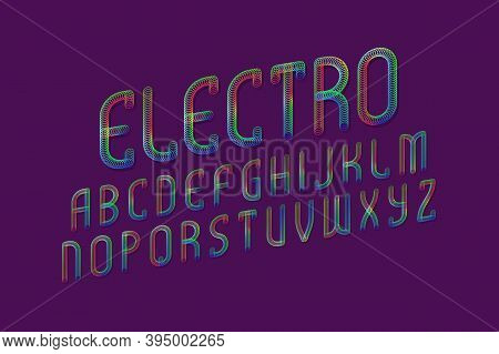 Electro Alphabet Of Iridescent Letters Of Shining Rings. Display Oblique Font. Isolated English Alph