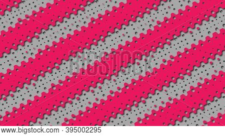 Abstract Layered Background With Perforated Gradient Red And Gray Stripes In Papercut Style. Flowing