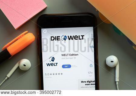 New York, United States - 7 November 2020: Die Welt Edition App Store Logo On Phone Screen, Illustra