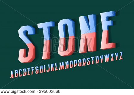 Volumetric Stone Alphabet Of Red Blue Letters Of Two Parts. 3d Display Oblique Font. Isolated Englis