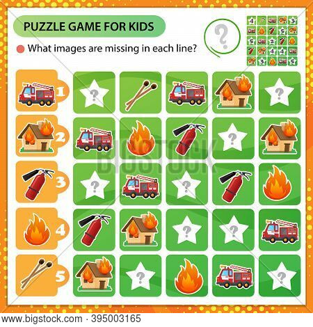 Sudoku Puzzle. What Images Are Missing In Each Line? Fire Truck, Extinguisher, Burning House And Fla