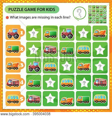 Sudoku Puzzle. What Images Are Missing In Each Line? Cars. Truck And Tractor. Fire Truck And Concret