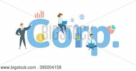 Corp. Corporation. Concept With Keywords, People And Icons. Flat Vector Illustration. Isolated On Wh