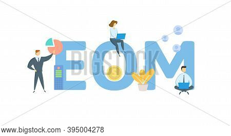 Eom, End Of Month. Concept With Keywords, People And Icons. Flat Vector Illustration. Isolated On Wh