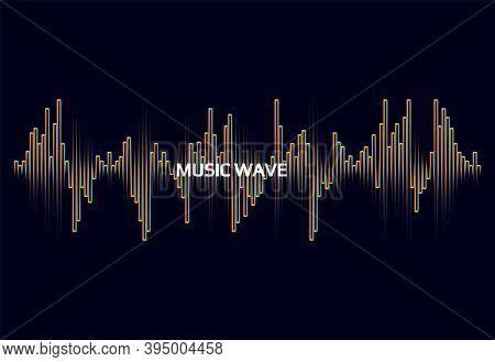 Vector Sound Wave Illustration. Pulse Player Logo. Digital Audio Concept. Colorful Equalizer Element