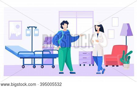 Guy At The Doctor S Appointment. Nurse Advises A Man In The Ward. Male Character In Hospital On Ther