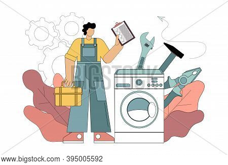 Repairman And Washing Machine Concept. Repairman Concept. Worker In The Form Of Repairing Household