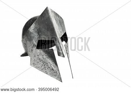 Medieval Armor, Archeological Souvenir From Past, Iron Head Antique Protection. Side View Of Ancient