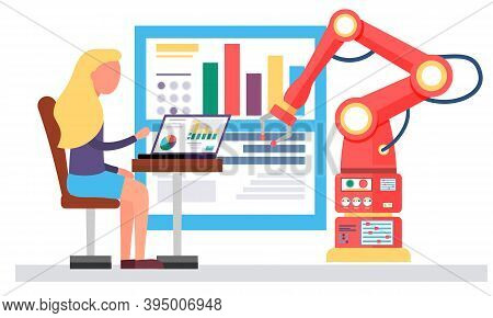 Female Scientist And Mechanical Arm Conducting Experiments. Artificial Intelligence. Woman Record Da