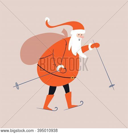 Cartoon Santa Claus Is Skiing, Holding Ski Poles In His Hands, Carrying A Bag Of Gifts On His Back.