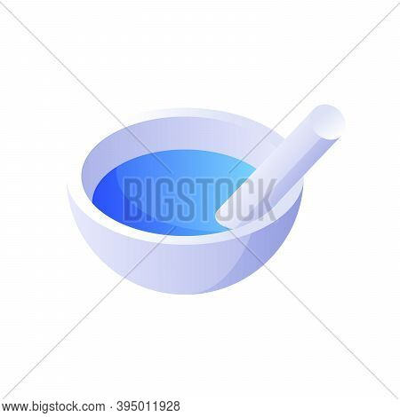 Mortar With Pestle Isometric Vector. Retro Pharmaceutical White Device For Grinding Medicinal Produc
