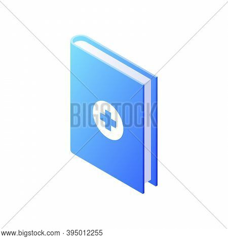 Medical Reference Book Isometric Vector. Informational Blue Encyclopedia With Crosses In Center.
