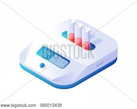 Biochemical Thermostat Analyzer Isometric Vector. White Electronic Microbiological Device With Blue