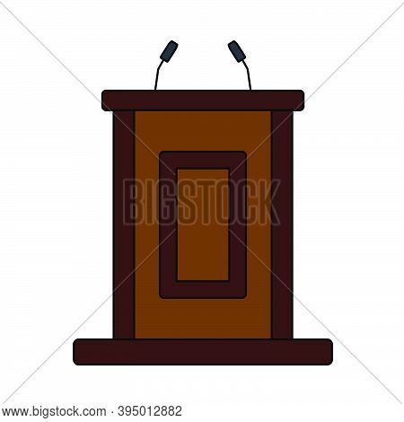 Witness Stand Icon. Editable Outline With Color Fill Design. Vector Illustration.