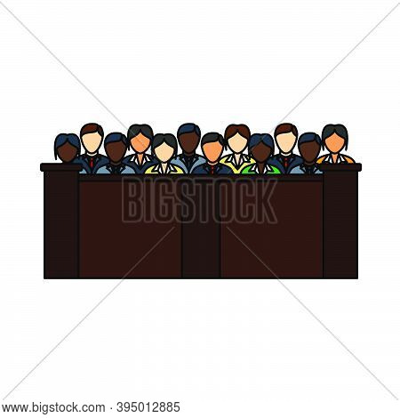 Jury Icon. Editable Outline With Color Fill Design. Vector Illustration.
