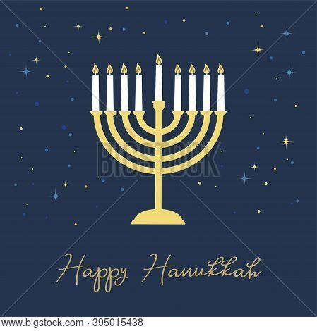 Happy Hanukkah Lettering Greeting Card. Festive Poster Print Typographical Inscription. Hanukkah Bac