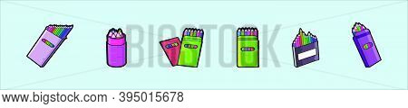Colored Pencil Set Loosely Arranged. Cartoon Icon Design Template With Various Models. Modern Vector