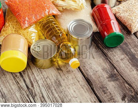 Many Different Groceries Products. Set Of Staple Products Raw Cereals Grains Grocery Pasta And Canne