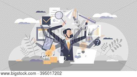 Multitasking Work And Private Life As Combine Many Job Duties And Tasks Tiny Person Concept. Workloa