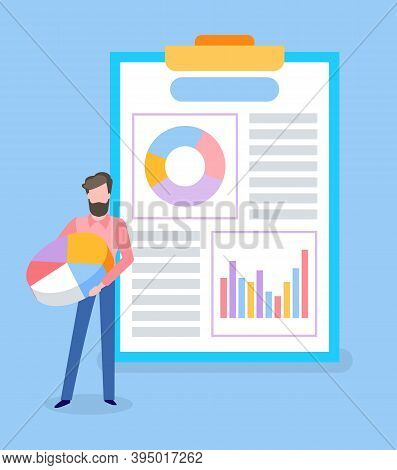 Businessman Looking At Analysis Of Business Project Vector. Clipboard With Info, Data In Visual Repr