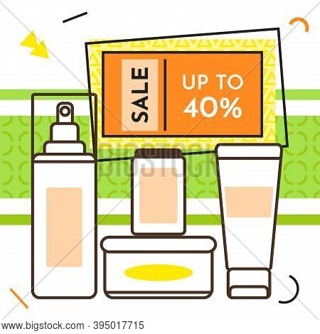 Spesial Offer Cosmetic Shop Poster. Sale Banner Template Design, Discount Special Up To 40 Off. Supe