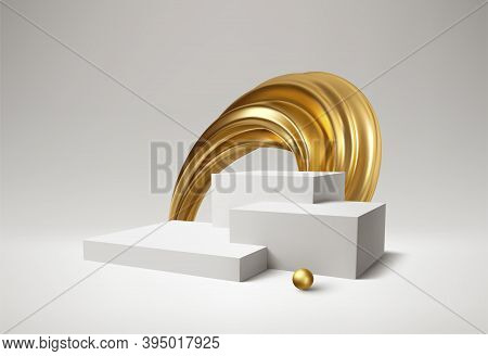 Background 3d White Podium Product And Realistic Golden Swirl On The White Background. Modern White