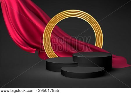 Background 3d Black Podium Product And Realistic Red Silk Flying Drape Fabric, Golden Cirkle Frame O