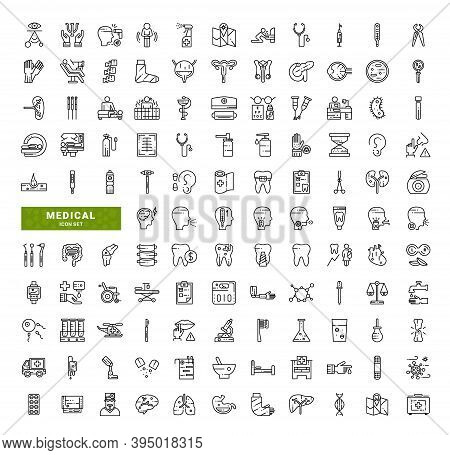 Set Of Medical Related Vector Line Icons. Contains Such Icons As Such Medicine, Pharmacology, Health