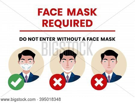 Wear Face Mask Notice.please Wear Masks Or Face Covering. The Sign For Wearing Mask Beyond This Poin