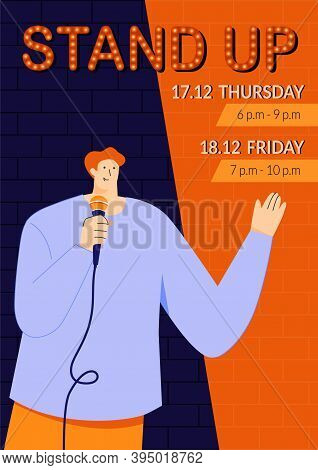 Stand-up Show Poster Template With Young Male Stand-up Comedian Speaking Directly To People Through