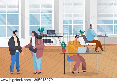Workers In Office, Height Of Working Day. Woman And Man Shake Hands As Cooperation Sign. Men Working