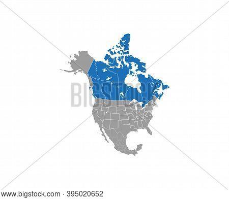 Canada On North America Map Vector. Vector Illustration.