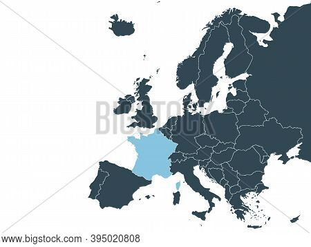France On Europe Map Vector. Vector Illustration.