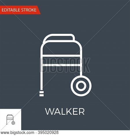 Walker Thin Line Vector Icon. Flat Icon Isolated On The Black Background. Editable Stroke Eps File.