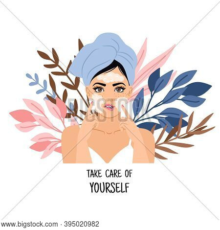 Face Spa Procedure. Cartoon Woman Uses Cleansing Facials For Treatment Skin, Concept Of Take Care Of