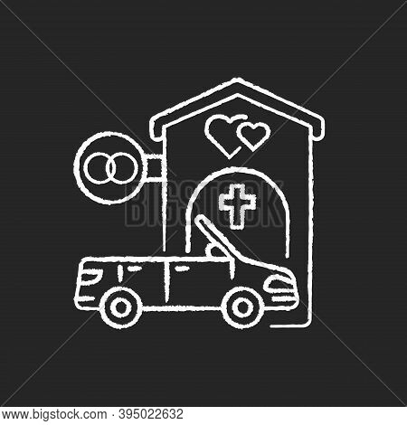 Drive Through Marriage Chapel Chalk White Icon On Black Background. Small Church For Wedding. Car Fo