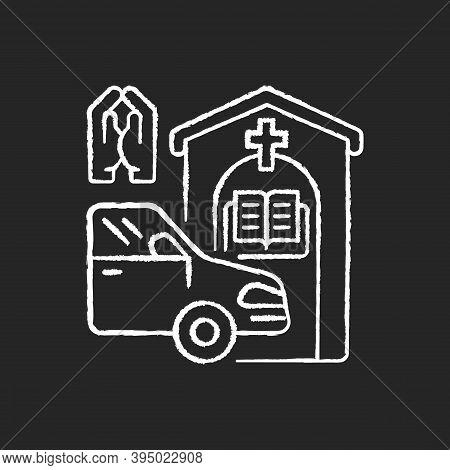 Drive Through Prayer Booth Chalk White Icon On Black Background. Car Near Small Church. Chapel Servi