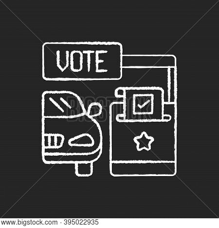Drive Through Voting Booth Chalk White Icon On Black Background. Polling Station. Express Election S