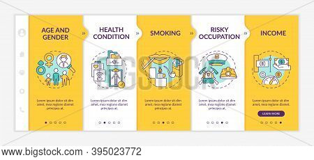 Insurance Cost Factors Onboarding Vector Template. Age And Gender Types. Health Condition. Responsiv