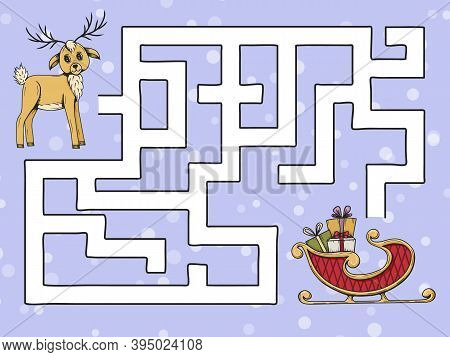Childrens Game Maze. Help The Deer Find Santas Sleigh. Vector Illustration. Doodle Style.