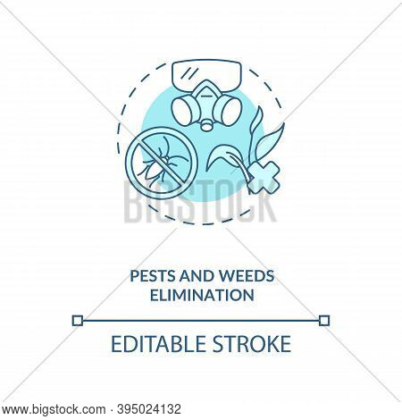 Pests And Weeds Elimination Concept Icon. Agriculture Machines Tasks. Protection From Insects And Pl