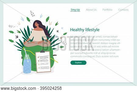 Landing Page Template With A Woman Doing Yoga And Healthy Food And A Water Bottle. Healthy Habits, A