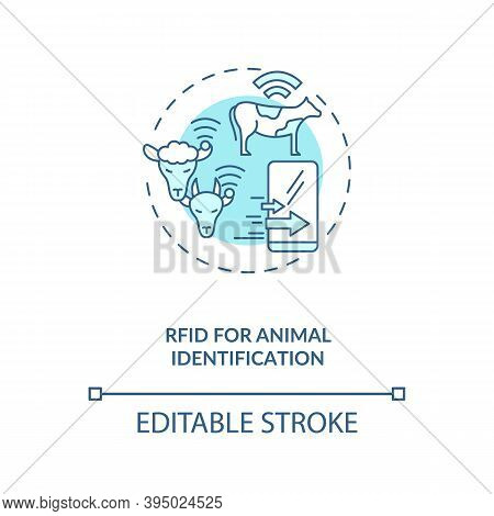 Rfid For Animal Identification Concept Icon. Information Technology In Agriculture. Device For Monit